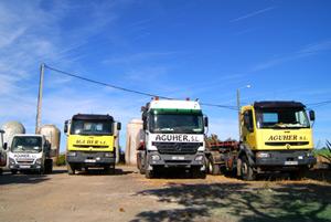 Flota de camiones para transporte de tinajas